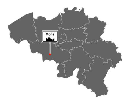 Map of Belgium with road sign Mons