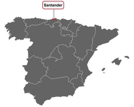 Place name sign Santander at map of Spain