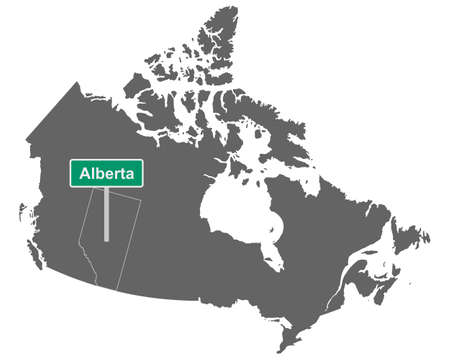 Place name sign Alberta at map of Canada