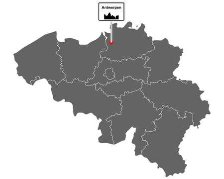Map of Belgium with road sign Antwerp Vektorgrafik
