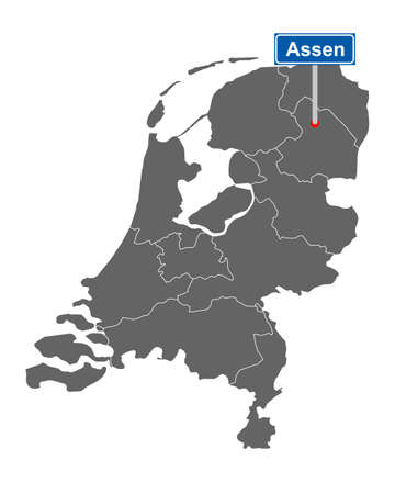 Map of the Netherlands with road sign Assen