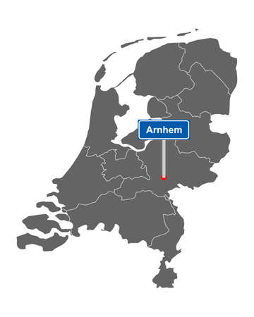 Map of the Netherlands with road sign Arnhem