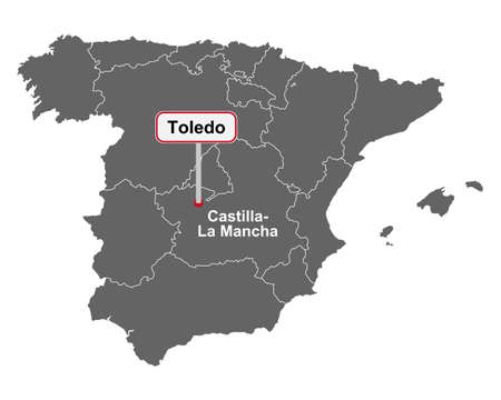 Place name sign Toledo at map of Spain