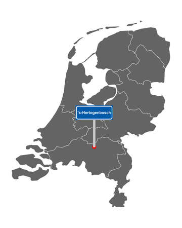 Map of the Netherlands with road sign