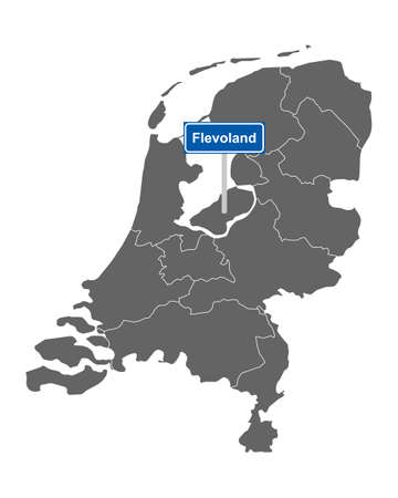 Map of the Netherlands with road sign Flevoland Vectores