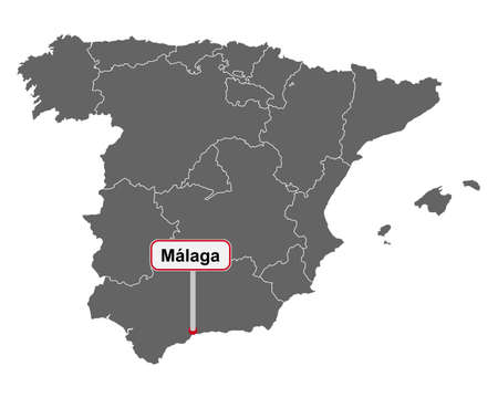 Map of Spain with place name sign of Malaga