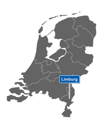 Map of the Netherlands with road sign Limburg