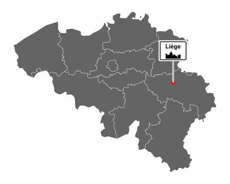 Map of Belgium with road sign Liege