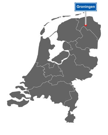Map of the Netherlands with road sign Groningen
