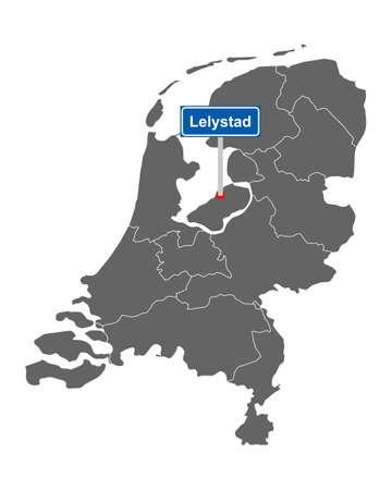 Map of the Netherlands with road sign Lelystad Vektorgrafik