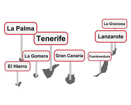 Place name signs and map of the Canary Islands