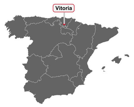 Place name sign Vitoria at map of Spain