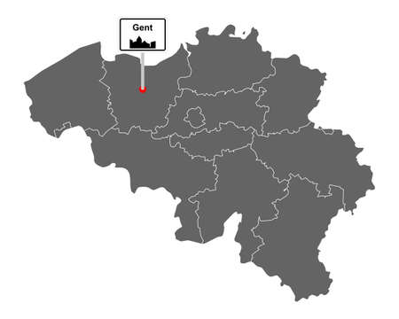 Map of Belgium with road sign Gent