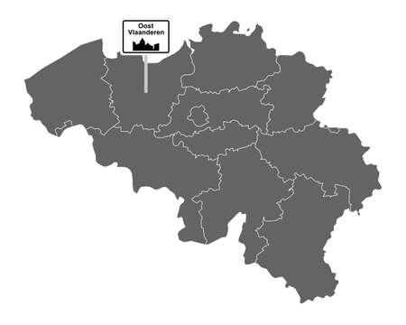 Map of Belgium with road sign Oost Vlaanderen