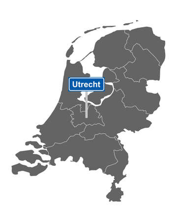 Map of the Netherlands with road sign Utrecht