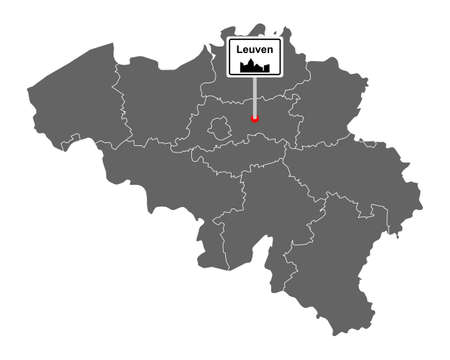 Map of Belgium with road sign Leuven