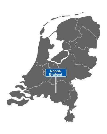 Map of the Netherlands with road sign Noord-Brabant