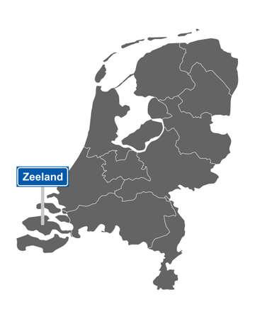 Map of the Netherlands with road sign Zeeland Vektorgrafik