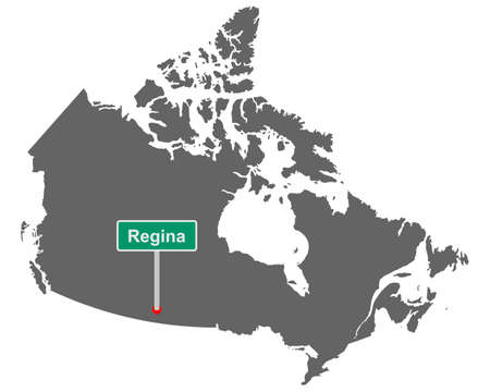 Place name sign Regina at map of Canada