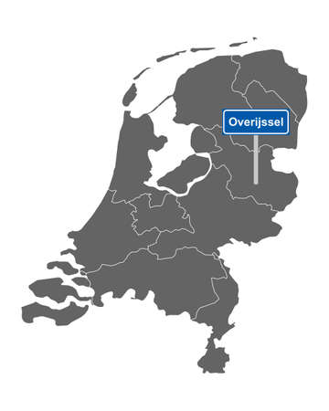 Map of the Netherlands with road sign Overijssel
