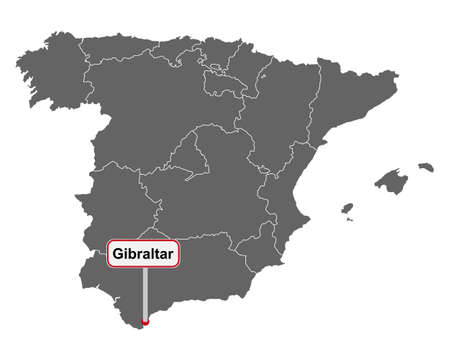 Map of Spain with place name sign of Gibraltar Vektorgrafik