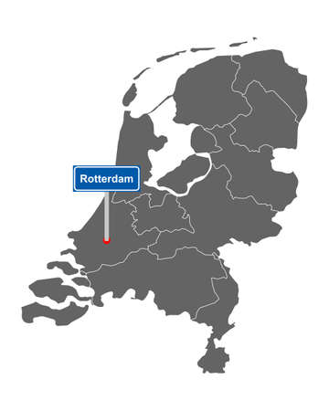 Map of the Netherlands with road sign Rotterdam