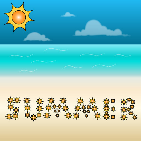 sunny beach: Sunny beach with a summer sign made from suns