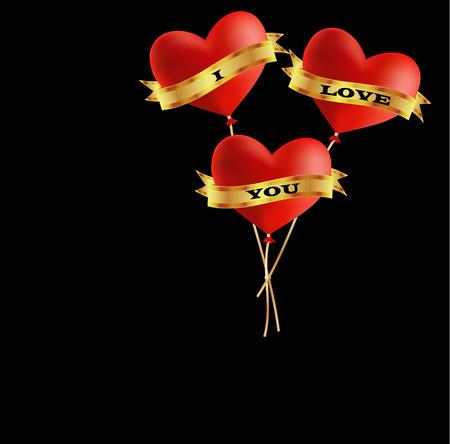 Ik hou van je ballonnen Stock Illustratie