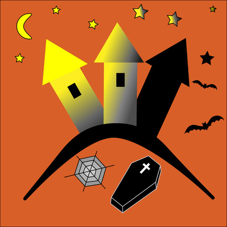 flying coffin: Halloween haunted with bats coffin and spider web Illustration