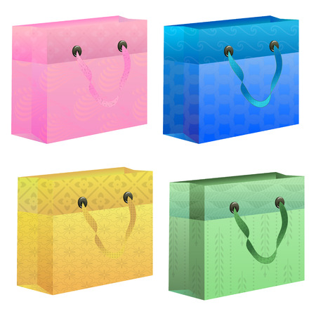 gift bag: Set of pink, blue, green and yellow gift bag with cheerful patterns Illustration