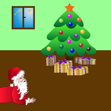 Santa Claus smiling at his work, resting and thinking Illustration
