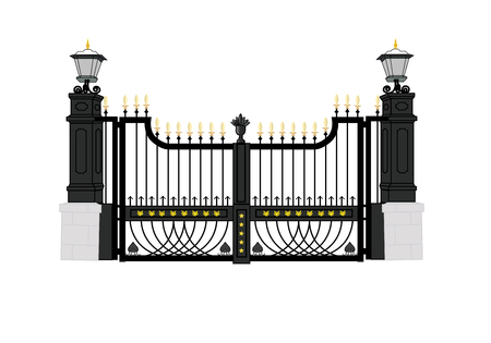 front gate: White House front gate; Washington D.C.; United States of America; president home Illustration