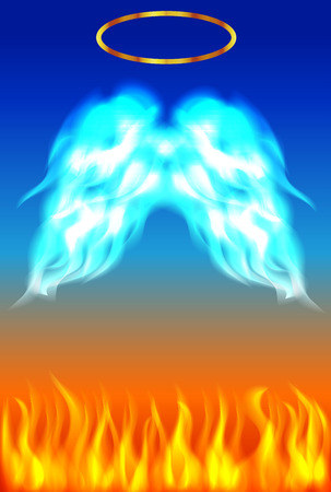 hell: Angel wings with grace and hell fire colorful background
