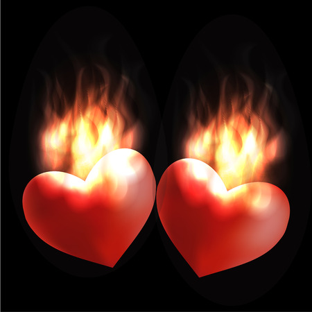 passion: Hearts burning with love and passion, flames on black background