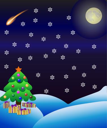 Winter-Natur-Hintergrund mit Weihnachtsbaum, Vollmond und Sternschnuppe.