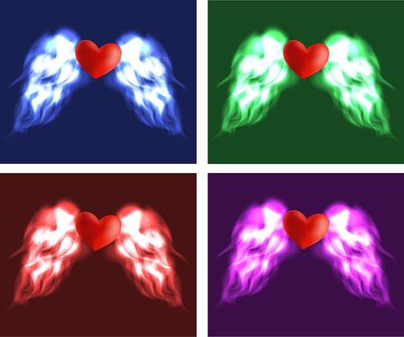 violet red: Heart with angel wings, red, blue, green, violet variation. Illustration