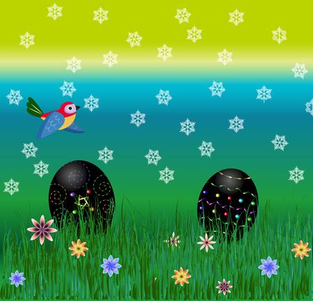 egg hunt: Easter black egg hunt, crazy spring weather Illustration