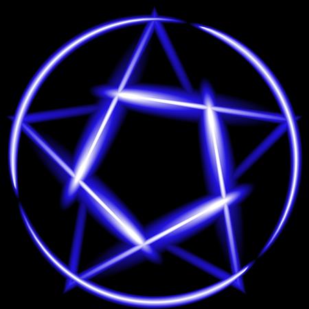 devil ray: Blue neon pentagram