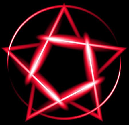 devil ray: Red neon pentagram, black background