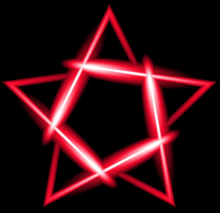 estrellas cinco puntas: Red neon five-pointed star, black background