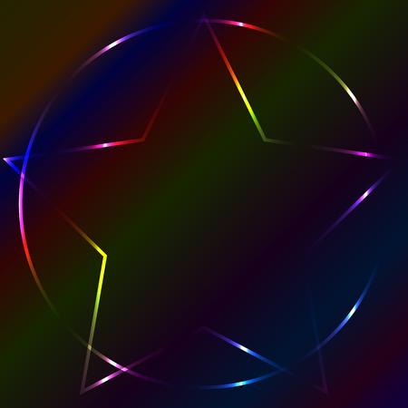 devil ray: Colorful neon laser pentagram, multicolor background Illustration