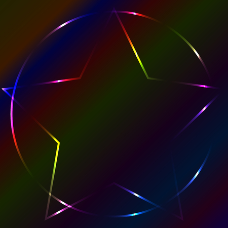 Colorful neon laser pentagram, multicolor background Illustration