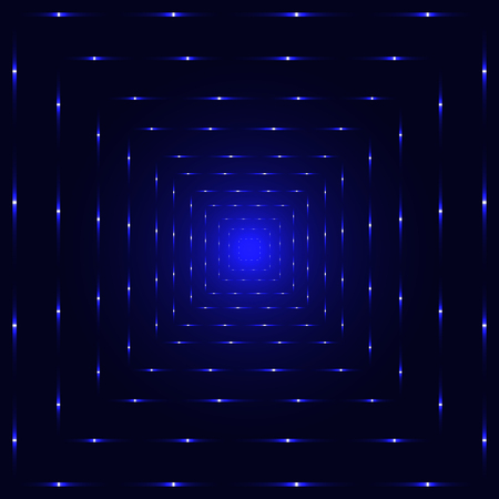 tunnel: Blue neon laser perspective tunnel