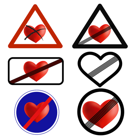 split up: Not in love traffic signs, love over vector icons Illustration