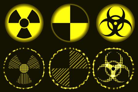 Set of nuclear hazard, quarantine and biohazard neon symbols