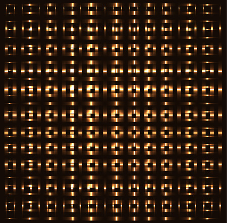 copper pipe: Copper squares, crossing abstract pipes, metal pieces, black background