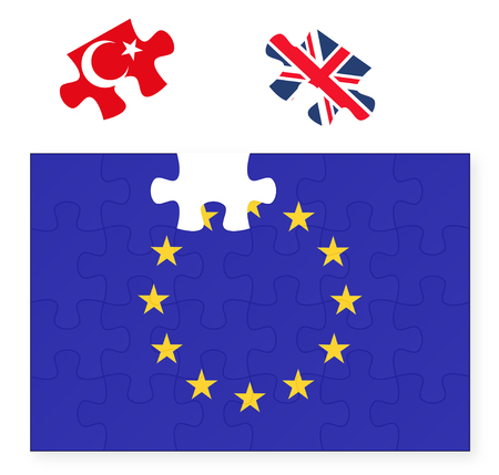 disconnect: European Union flag missing United Kingdom Great Britain jigsaw puzzle piece, Brexit, EU sunset, Turkey in, replacement Illustration