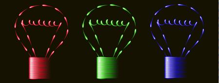 gimmick: Neon red blue green light bulbs, idea, black background Illustration