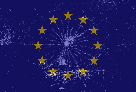 crack up: Shattered European Union flag, cracked glass, Brexit vector background