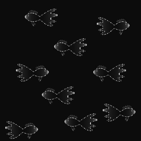 Black and white guppy fishes, marine life vector background